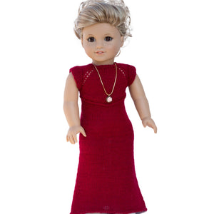 Rosa dress knitting pattern for American Girl dolls