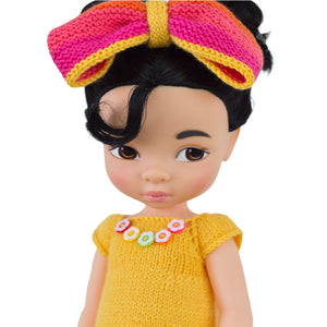 Yellow Crayon knitted dress for Disney Animators dolls