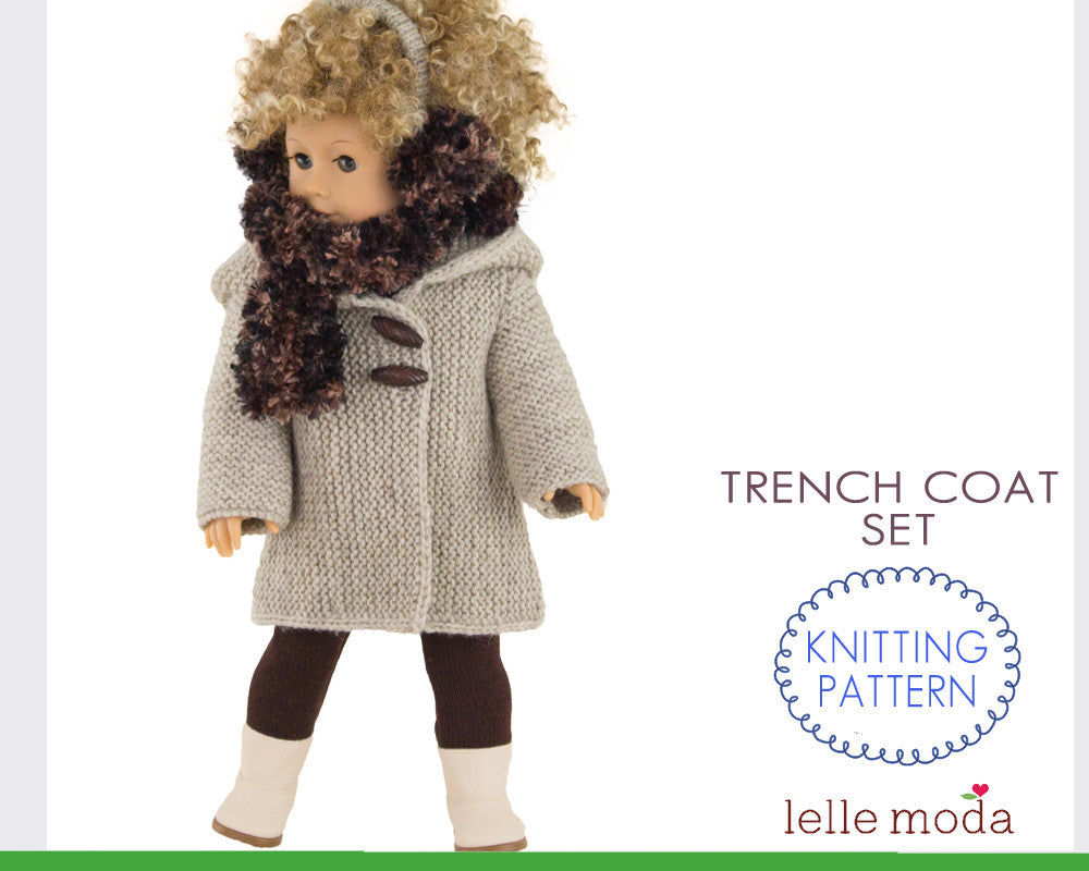 Trench coat for 18 inch dolls with accessories
