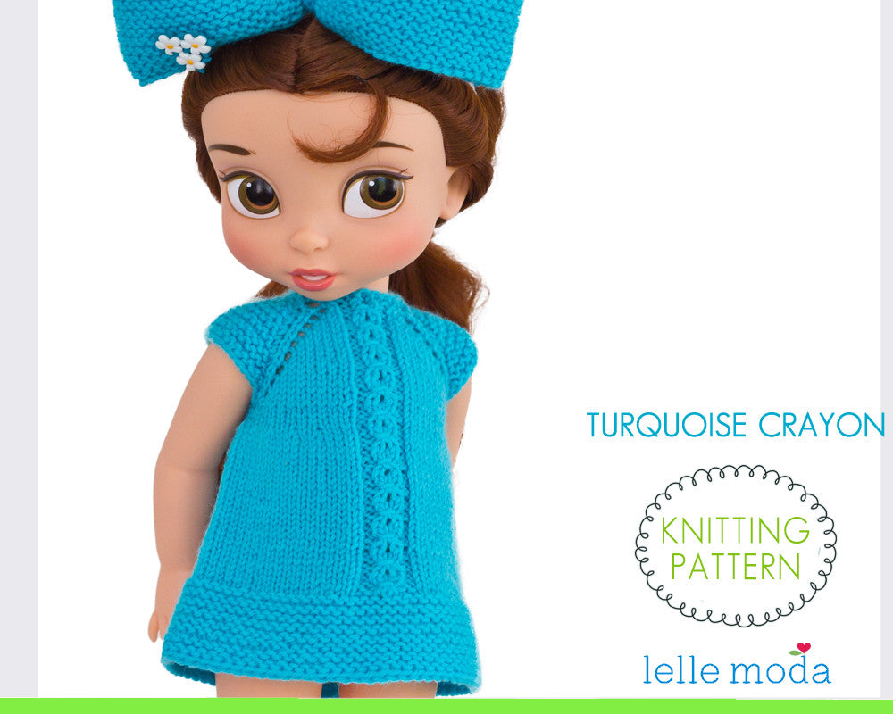 Turquoise Crayon dress knitting pattern for Disney Animators dolls