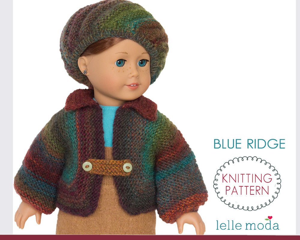 Knitting pattern for 18 inch doll clothes, Blue Ridge jacket and beret