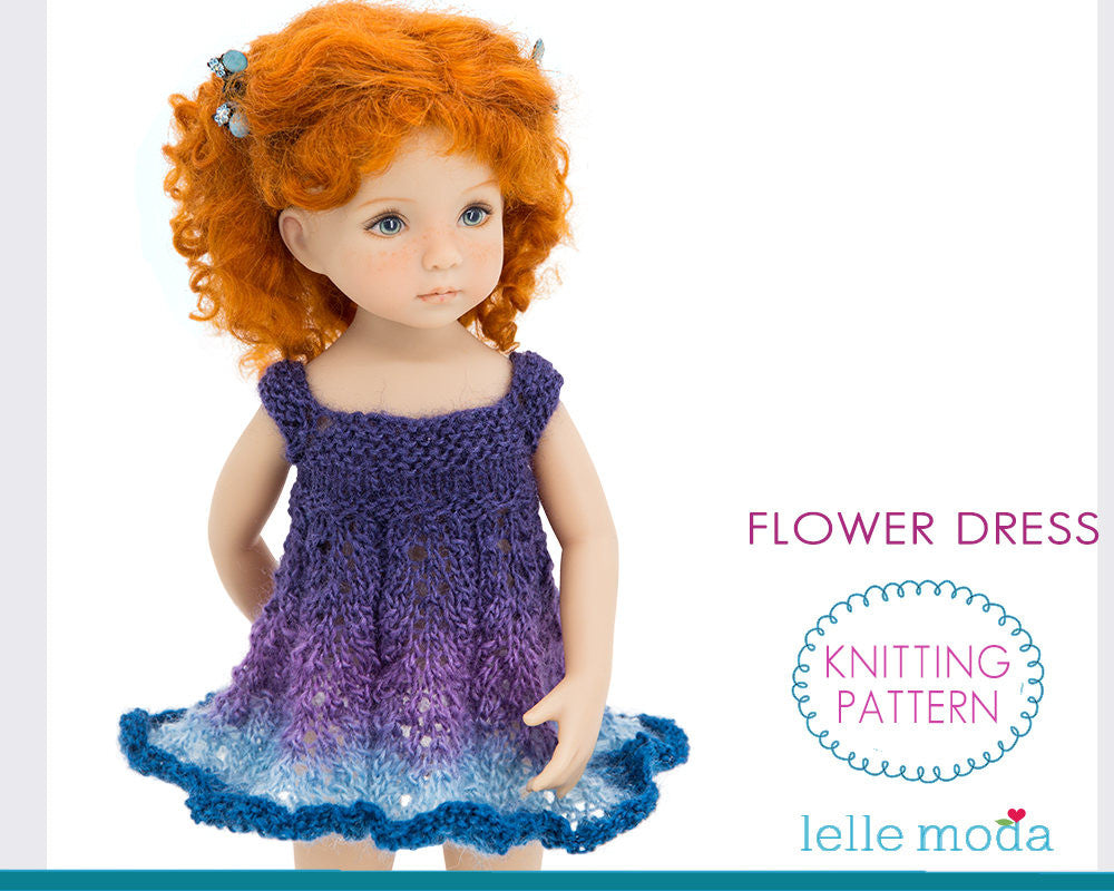 Knitted Dress for Little Darling Dolls,  Knitting Pattern,  Flower Dress for 13 inch dolls by Dianna Effner,  Doll Clothes Pattern, PDF File