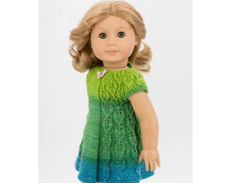 Summer Dress for 18 inch Dolls, Knitting Pattern,  Clothes for American Girl Doll,  Lace Pattern, Green Spring Leaves Design, PDF Download