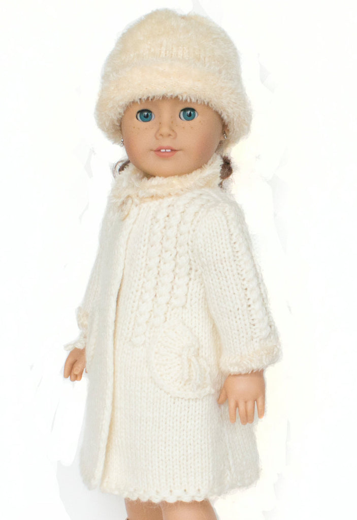 Doll Coat Pattern, 18 inch doll Winter Coat, fits American Girl Doll,  Knitted Doll Clothes Pattern,  18 inch Doll Pattern,  Doll Knitting