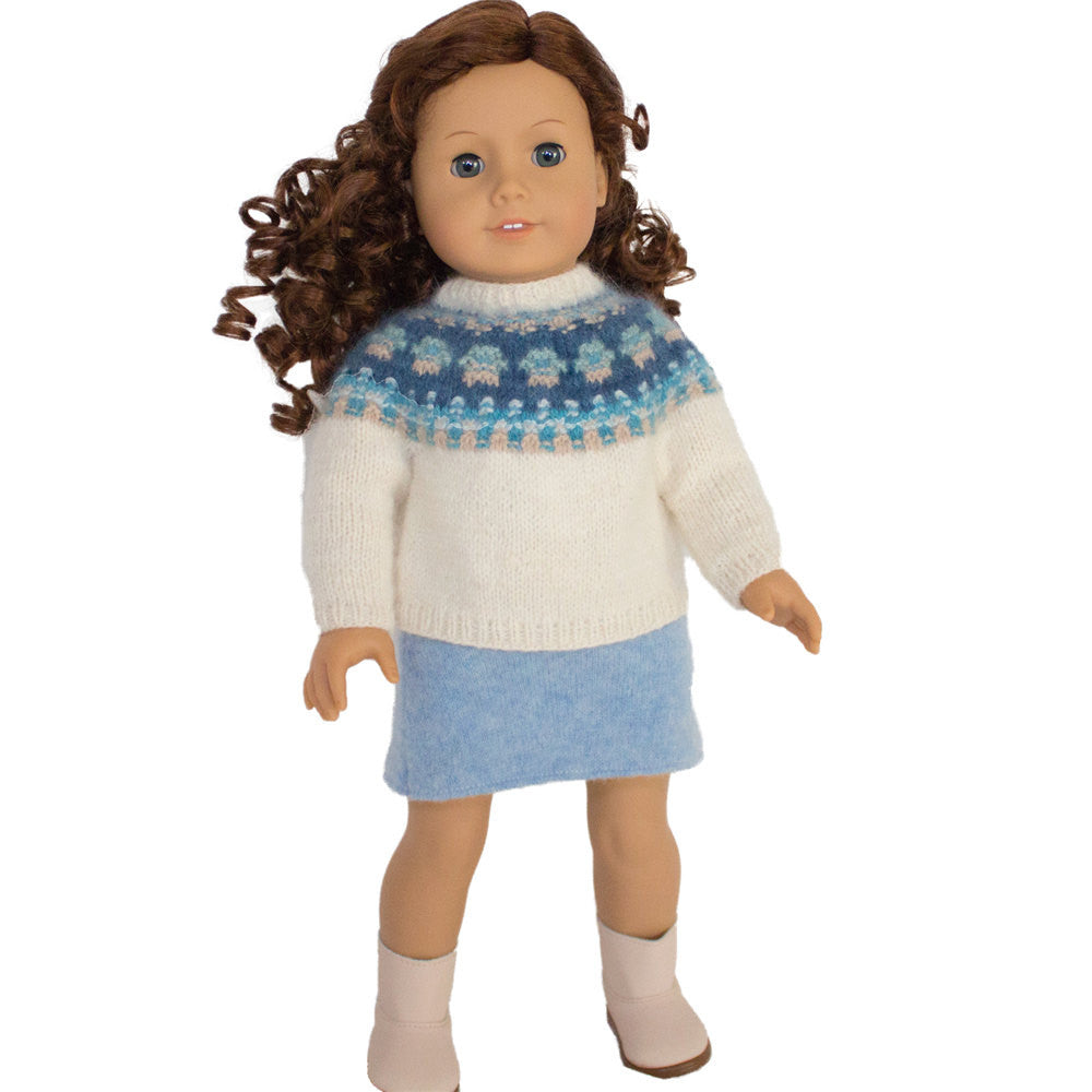 Doll Clothes Pattern, Bohus Knitting Pattern  for American Girl Doll, 18 inch Doll Clothes Pattern, Doll Cardigan, Doll Sweater Pattern