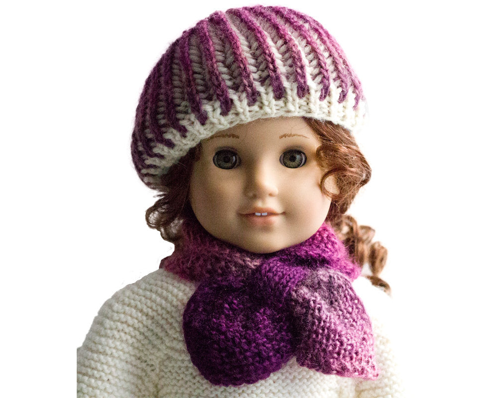 Knitting Pattern - for American Girl dolls - 18 inch doll Clothes - Doll Winter Hat and Scarf - Doll Accessories Pattern, Doll Knit Clothes