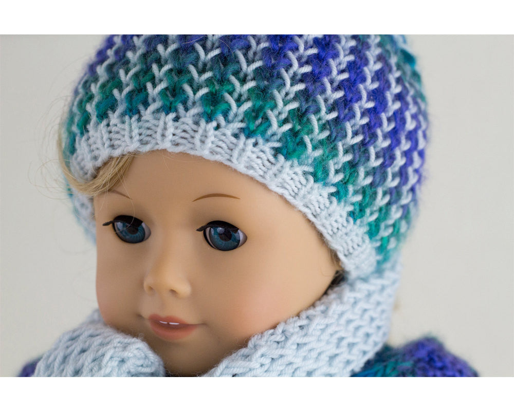 Winter Hat and Scarf Dragonfly  for  American Girl Dolls,  Knitting Pattern