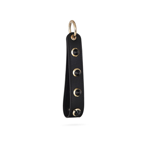 GABRIELLE BY P Studded Keyring | Black/Gold