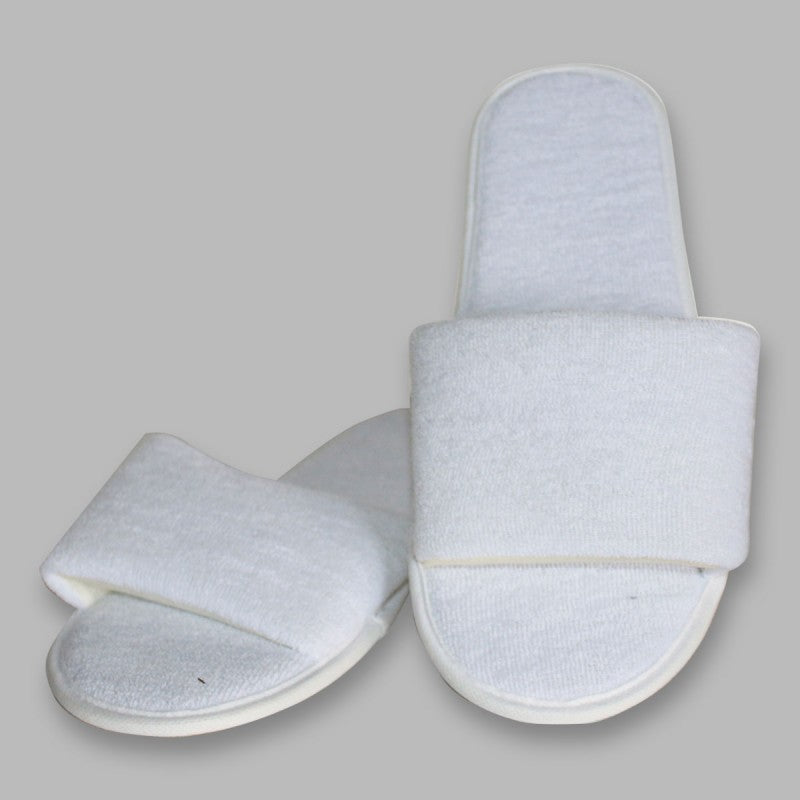 White Towel Fabric Disposable Slippers (Open Toe)