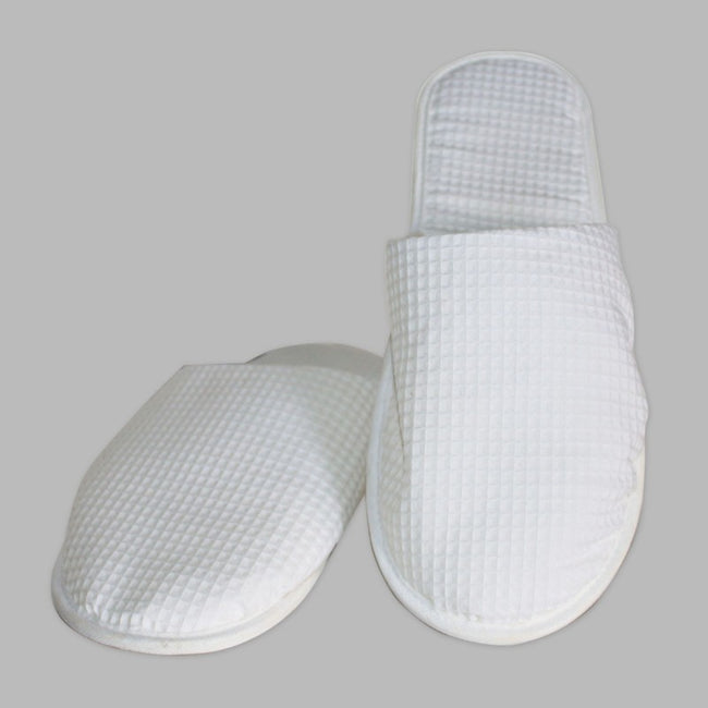 White Waffle Weave Disposable Slippers (Full Covered)