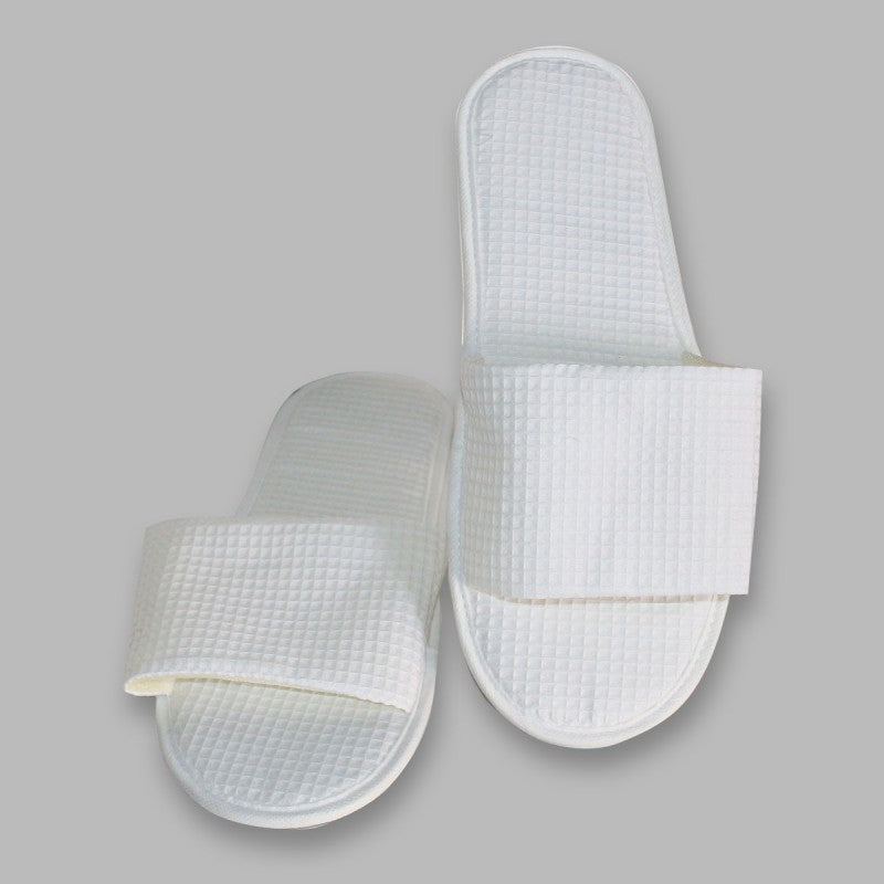 White Waffle Weave Disposable Slippers (Open Toe)