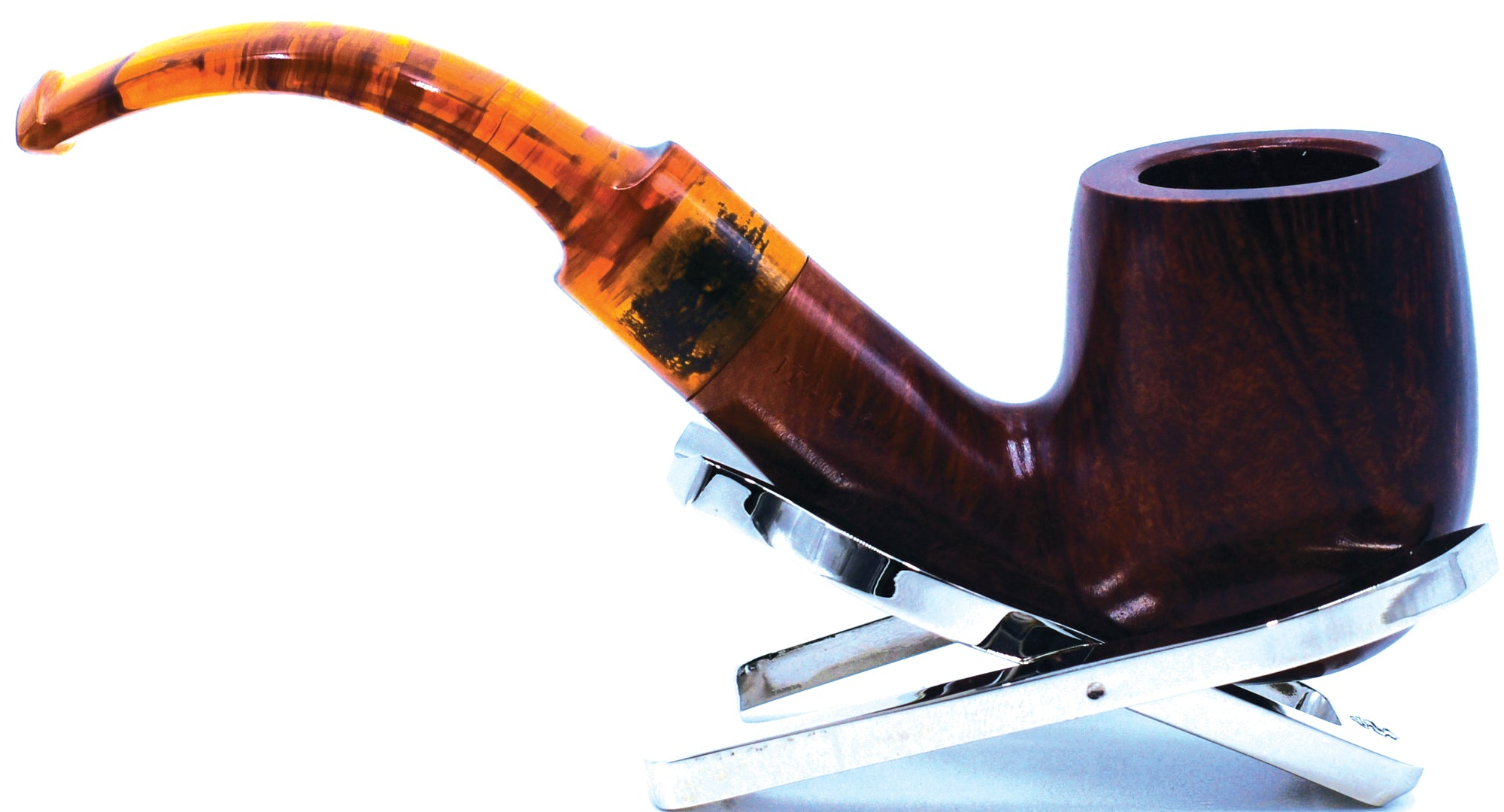LEGENDEX® LASCALA* Plexiglass Mouthpiece 9 MM Filtered Briar Smoking Pipe Made In Italy 01-08-702
