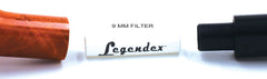 LEGENDEX® LASCALA* Plexiglass Mouthpiece 9 MM Filtered Briar Smoking Pipe Made In Italy 01-08-714