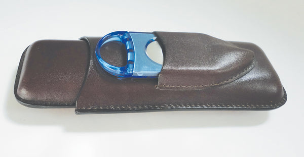 Legendex leather cigar case 2 corona BR w/cigar cutter blue 05-04-400