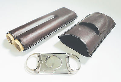 Legendex leather cigar case 2 corona BR w/cigar cutter gray 05-04-430