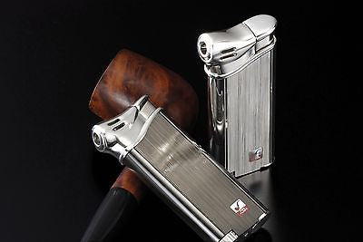 Sarome Piezo Pipe Lighter w/stable flame system PSP3-10 Silver 2-side hairline