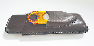 Legendex leather cigar case 2 corona BR w/cigar cutter orange 05-04-420