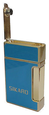 Sikaro Triumphal Arch Twin Torch Cigar Lighter Sky Blue Lacquer w/Cigar Punch 06-05-107