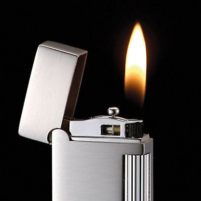 Sarome SD9-32 Flint Lighter Silver / Black line diamond cut