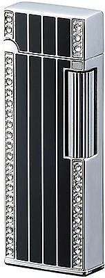 Sarome SD9-22 Flint Lighter Silver/black epoxy resin inlaid/Swarovski crystal