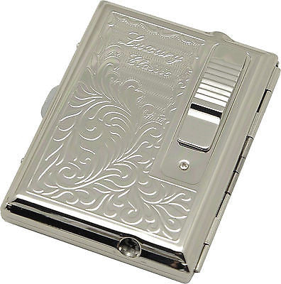 Legendex Elegance Metal Cigarette / Mini Cigar Case Built-In Turbo Windproof Lighter 06-30-101 Arabesque / White Nickel (Silver)