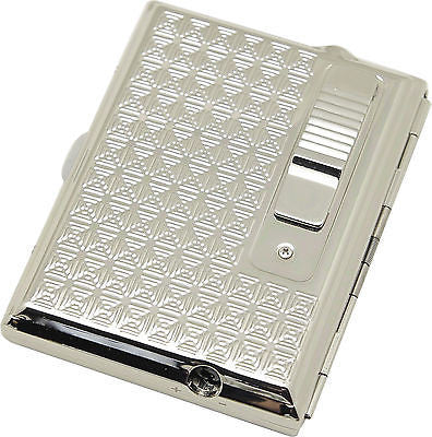 Legendex Elegance Metal Cigarette / Mini Cigar Case Built-In Turbo Windproof Lighter 06-30-103 Windows / White Nickel (Silver)
