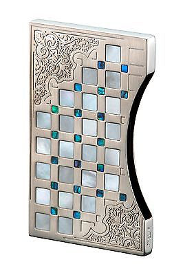 Sarome Business Card Case EXNA1-01 Sterling Silver Arabesque / Mother-of-Pearl & Abalone