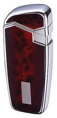 Sarome JB8-20 Turbo Windproof Lighter - Nickel / red marble lacquer