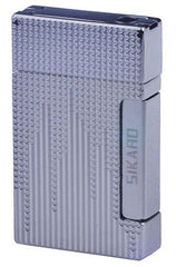 Sikaro Triumphal Arch Twin Torch Lighter Silver (White Nickel) Engraving w/cigar punch 06-05-101