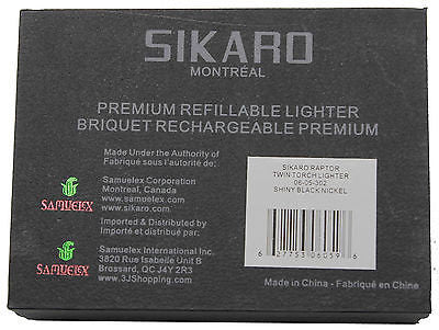 Sikaro Raptor Twin Torch Lighter 06-05-302 Shiny black nickel