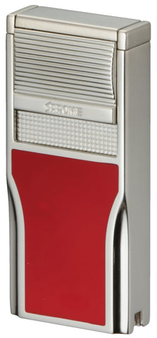 Sarome Flat Triple Torch  Cigar Cigarette Lighter w/ Cigar Punch 3BM1-02 Silver/ Red epoxy resi