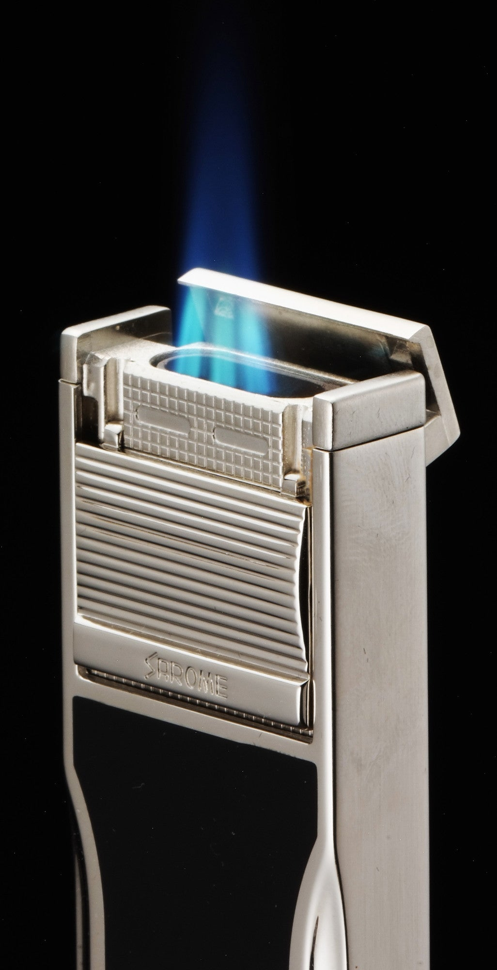 Sarome Flat Triple Torch  Cigar Cigarette Lighter w/ Cigar Punch 3BM1-03 Silver/ Blue epoxy resi