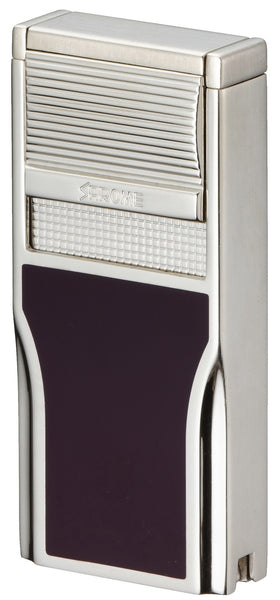 Sarome Flat Triple Torch  Cigar Cigarette Lighter w/ Cigar Punch 3BM1-04 Silver/ Purple epoxy resi