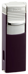 Sarome Flat Triple Torch  Cigar Cigarette Lighter w/ Cigar Punch 3BM2-08 Purple/Silver