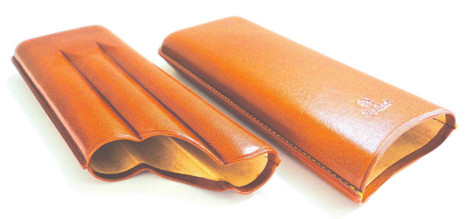 BigBen genuine leather cigar case 3 churchill 180 mm tan-tob 656.111.355