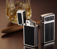 Sarome Torch  Cigar Lighter w/ Cigar Punch BM15A-05 Silver/ Red epoxy resin