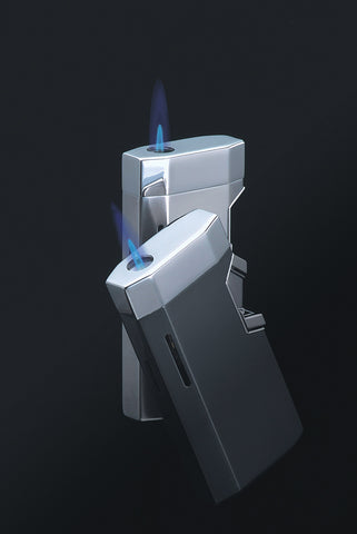 Sarome Torch Lighter BM5-03 Silver/blue epoxy resin inlaid/abalone shell
