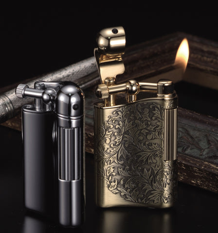 Sarome Flint Lighter for Pipe PSD12-28 Antique black arabesque / Silver