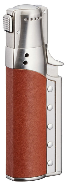 Sarome Spiral Circular flame Cigar Lighter w/ Cigar Punch SC1-02 Silver satin/ Briar smooth leather
