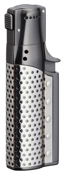 Sarome Spiral Circular flame Cigar Lighter w/ Cigar Punch SC1-04 Black nickel satin/ Silver plate
