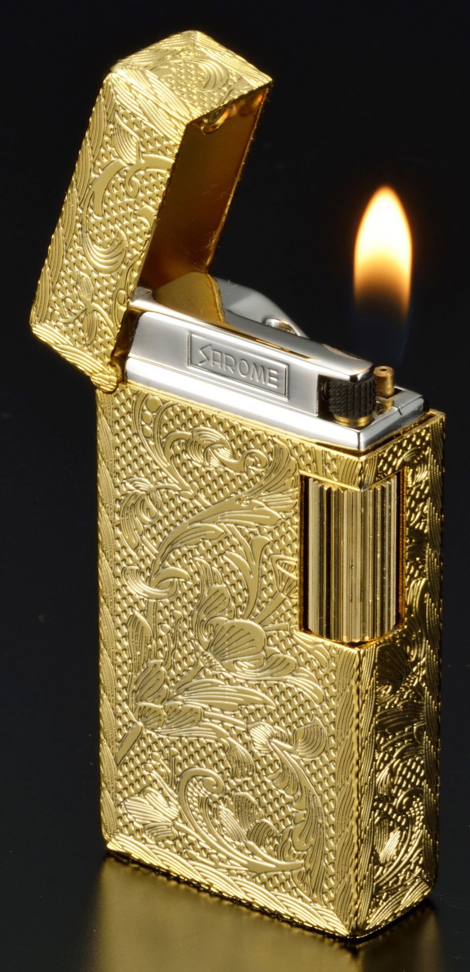 Sarome Flint Cigarette Lighter SD1-52 Antique silver / Cross diamond cut