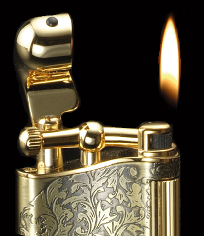 Sarome Flint Cigarette Lighter SD12-11 Antique brass arabesque
