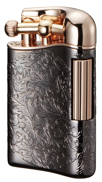 Sarome Flint Cigarette Lighter SD12-29 Antique silver arabesque / Rose gold