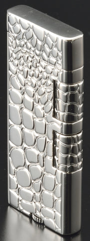 Sarome Flint Cigarette Lighter w/Double roller SD40-03 Silver / Crocodile pattern