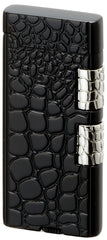 Sarome Flint Cigarette Lighter w/Double roller SD40-07 Black / Crocodile patter