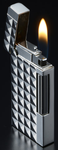 Sarome Flint Cigarette Cigar Lighter SD6A-10 Gun metal/ Lozenged diamond cut