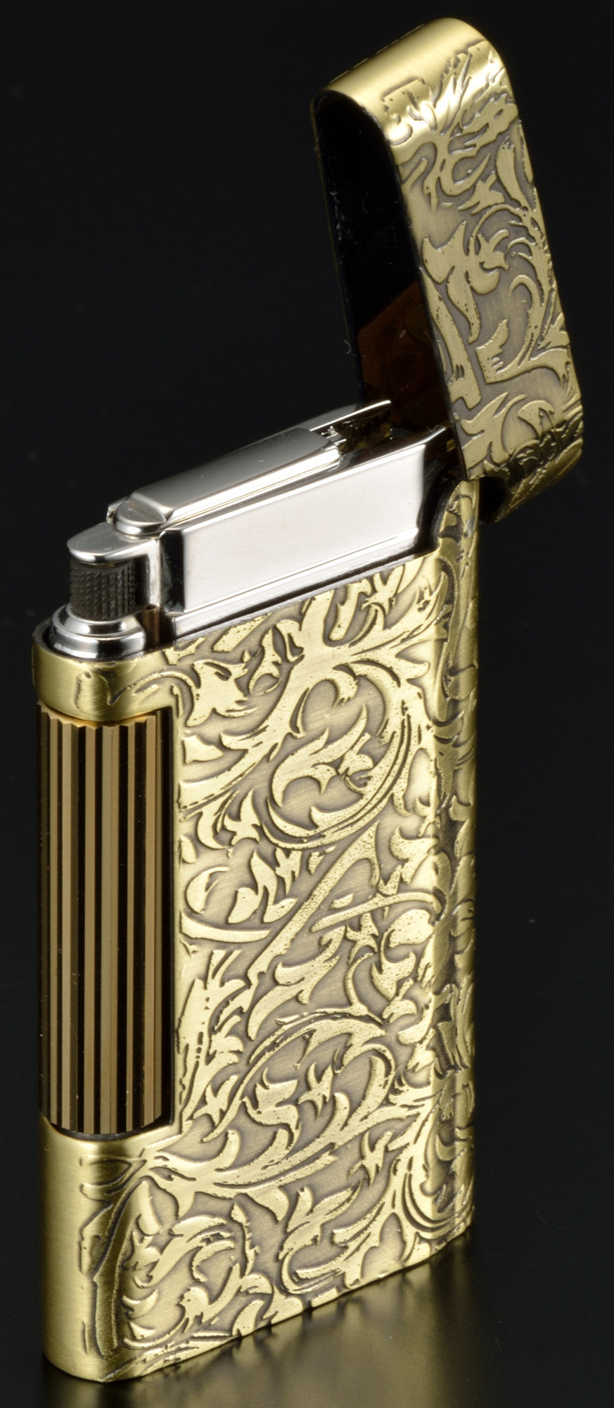 Sarome Flint Cigarette Lighter SD8-24 Antique silver arabesque