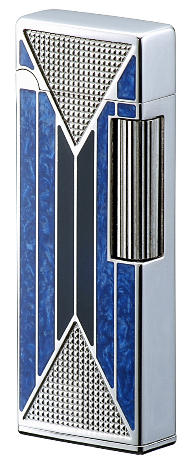 Sarome Flint Lighter SD9-21 Silver/2-tone blue& black epoxy resin inlaid