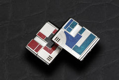 Sarome Piezo Electronic Cigarette Lighter SK59-03 Silver/engine turn/red & black quasi-cloisonne