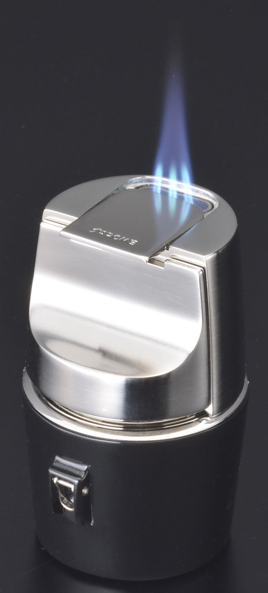 Sarome Flat Triple Torch  Cigar Cigarette TABLE Lighter  T3BM1-01 Silver/ Black